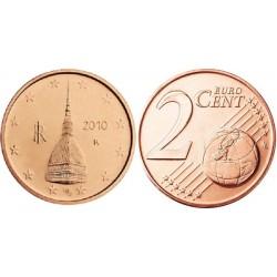 سکه 2 سنت یورو - مس روکش فولاد - ایتالیا 2010 غیر بانکی