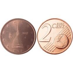 سکه 2 سنت یورو - مس روکش فولاد - ایتالیا 2012 غیر بانکی