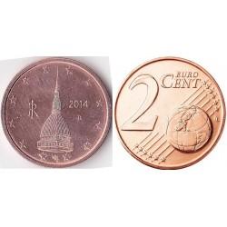 سکه 2 سنت یورو - مس روکش فولاد - ایتالیا 2014 غیر بانکی