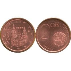 سکه 2 سنت یورو - مس روکش فولاد - اسپانیا 2000 غیر بانکی