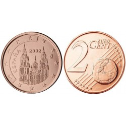 سکه 2 سنت یورو - مس روکش فولاد - اسپانیا 2002 غیر بانکی