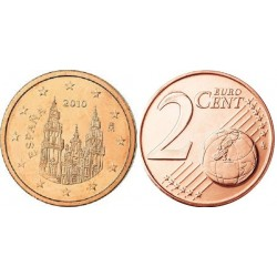 سکه 2 سنت یورو - مس روکش فولاد - اسپانیا 2012 غیر بانکی