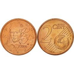 سکه 2 سنت یورو - مس روکش فولاد -فرانسه 2000 غیر بانکی