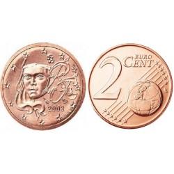 سکه 2 سنت یورو - مس روکش فولاد -فرانسه 2003 غیر بانکی