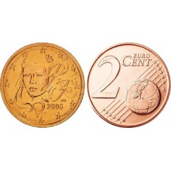 سکه 2 سنت یورو - مس روکش فولاد -فرانسه 2005 غیر بانکی