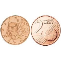 سکه 2 سنت یورو - مس روکش فولاد -فرانسه 2007 غیر بانکی
