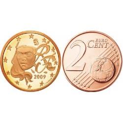 سکه 2 سنت یورو - مس روکش فولاد -فرانسه 2009 غیر بانکی