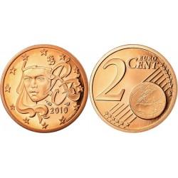 سکه 2 سنت یورو - مس روکش فولاد -فرانسه 2010 غیر بانکی