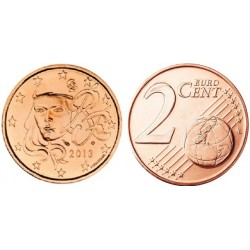 سکه 2 سنت یورو - مس روکش فولاد -فرانسه 2013 غیر بانکی