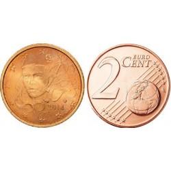 سکه 2 سنت یورو - مس روکش فولاد -فرانسه 2014 غیر بانکی