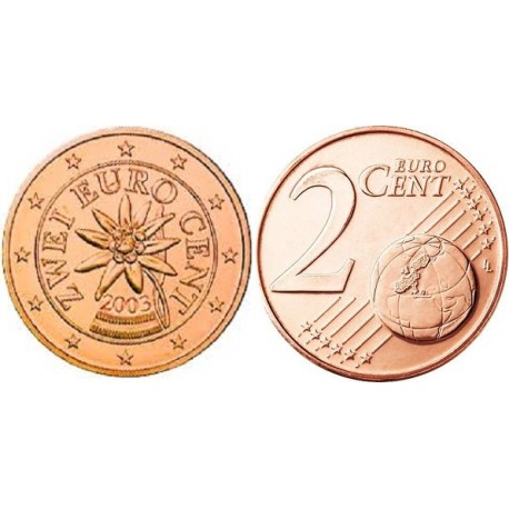سکه 2 سنت یورو - مس روکش فولاد - اتریش 2003 غیر بانکی