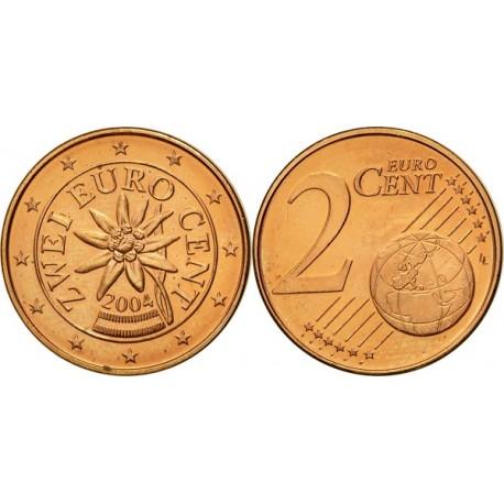 سکه 2 سنت یورو - مس روکش فولاد - اتریش 2004 غیر بانکی