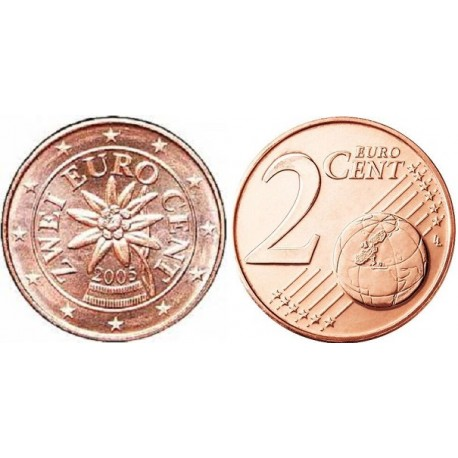 سکه 2 سنت یورو - مس روکش فولاد - اتریش 2005 غیر بانکی