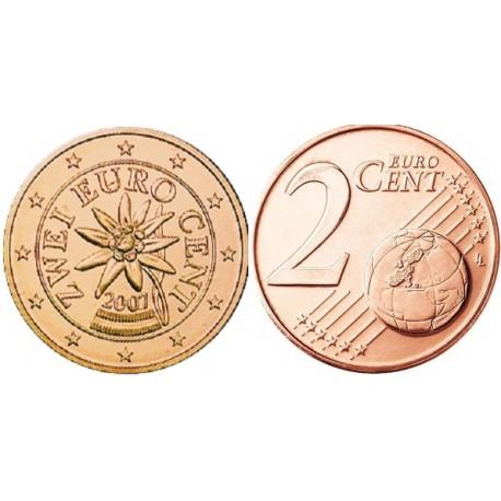 سکه 2 سنت یورو - مس روکش فولاد - اتریش 2007 غیر بانکی