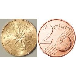 سکه 2 سنت یورو - مس روکش فولاد - اتریش 2010 غیر بانکی