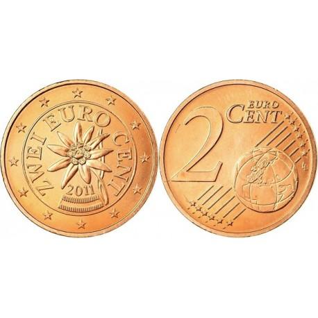 سکه 2 سنت یورو - مس روکش فولاد - اتریش 2011 غیر بانکی