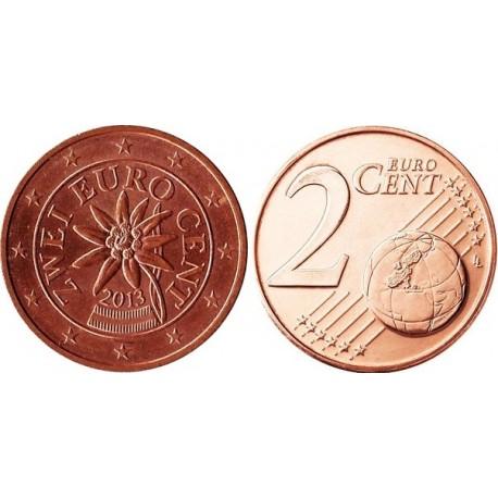 سکه 2 سنت یورو - مس روکش فولاد - اتریش 2013 غیر بانکی