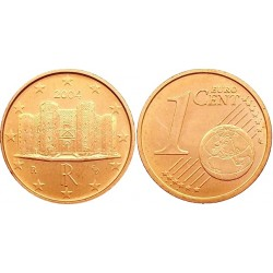سکه 1 سنت یورو - مس روکش فولاد - ایتالیا 2004 غیر بانکی