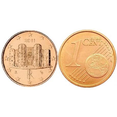 سکه 1 سنت یورو - مس روکش فولاد - ایتالیا 2011 غیر بانکی