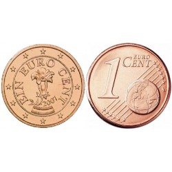 سکه 1 سنت یورو - مس روکش فولاد - اتریش 2007 غیر بانکی