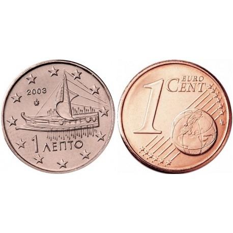 سکه 1 سنت یورو - مس روکش فولاد - یونان 2003 غیر بانکی