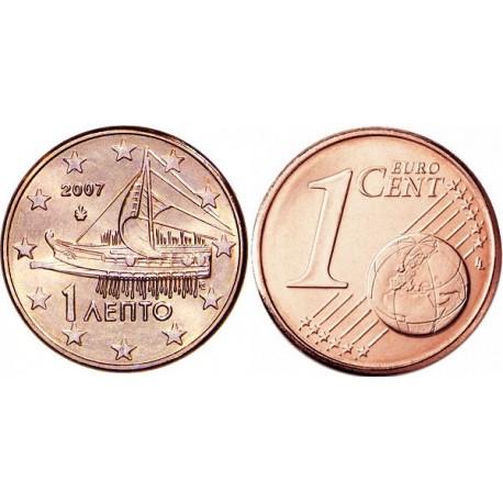 سکه 1 سنت یورو - مس روکش فولاد - یونان 2007 غیر بانکی