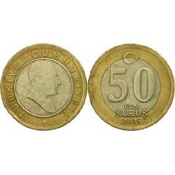 سکه 50 کروز - بیمتال  - ترکیه 2005 غیر بانکی