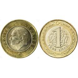 سکه 1 لیر - بیمتال  - ترکیه 2009 غیر بانکی