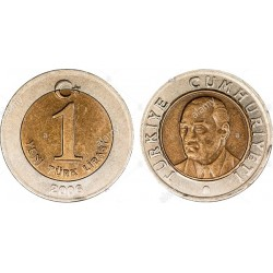 سکه 1 لیر - بیمتال  - ترکیه 2006 غیر بانکی
