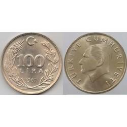 سکه 100 لیر - مس نیکل روی  - ترکیه 1987 غیر بانکی
