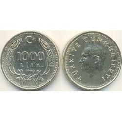 سکه 1000 لیر - مس نیکل روی  - ترکیه 1990 غیر بانکی