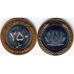 سکه 250 ریالی - نیکل برنز - بیمتال - جمهوری اسلامی 1373 بانکی