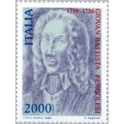 1 عدد تمبر 250مین سالگرد مرگ جوانی باتیستا پرگولسی - آهنگساز و ویولونیست - ایتالیا 1986 قیمت 6.6 دلار