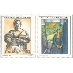 2 عدد تمبر هنر ایتالیائی - تابلو نقاشی- ایتالیا 1986 قیمت 5 دلار