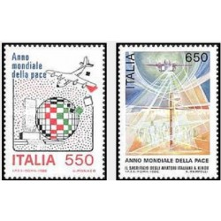 2 عدد تمبر سال بین المللی صلح - ایتالیا 1986 قیمت 3.8 دلار