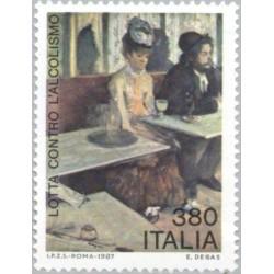 1 عدد تمبر مبارزه با الکلیسم - تابلو نقاشی - ایتالیا 1987