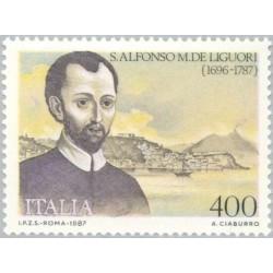 1 عدد تمبر 200مین سالگرد مرگ آلفونزو لیگوری - کشیش کاتولیک - ایتالیا 1987