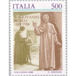 1 عدد تمبر یادبود صدمین سال درگذشت دون بوسکو - کشیش کاتولیک  - ایتالیا 1988