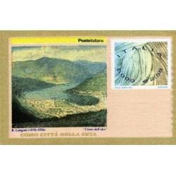 سونیرشیت صنعت ابریشم ایتالیا - از جنس پارچه احتمالا ابریشم  - ایتالیا 2001 ارزش روی تمبر 2.58 یورو