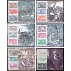 6 عدد سونیرشیت کلمبو - تمبر مشترک پرتغال، اسپانیا، ایتالیا و آمریکا - پانصدمین سال کشف آمریکا - ایتالیا 1992 قیمت 54 دلار