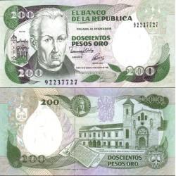اسکناس 200 پزو - کلمبیا 1992
