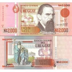 اسکناس 2000 نوو پزو - اورگوئه 1989