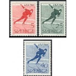 3 عدد تمبر قهرمانی اسکیت جهان - سوئد 1966