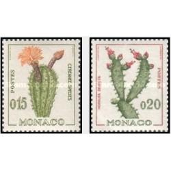 2 عدد تمبر حیاط دریائی و گیاهان - کاکتوس - موناکو 1960