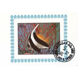 مینی شیت ماهیها - با مهر CTO - پست هوائی - شارجه 1972