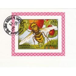 مینی شیت حشرات - با مهر CTO - پست هوائی - شارجه 1972