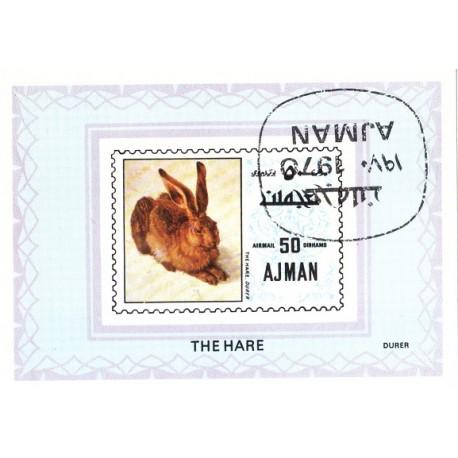 مینی شیت خرگوش - با مهر CTO - پست هوائی - عجمان 1970