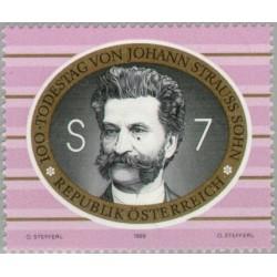 1 عدد تمبر صدمین سالگرد جان استراوس جوان - آهنگساز موسیقی لایت  - اتریش 1999