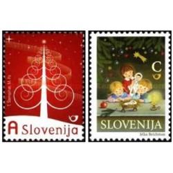 2 عدد تمبر کریستمس - سال جدید - اسلوونی 2009