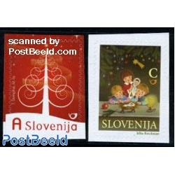 2 عدد تمبر کریستمس - سال جدید - خود چسب - اسلوونی 2009